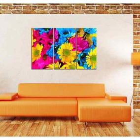 Cuadro Triptico Margaritas Flores Colores Flora 60x90cmtotal
