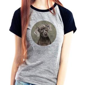 Camiseta Feminina Reglan Cachorro Chocolate Camisa Pet