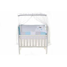 Kit Mini Berço Moisés Nuvem Chevron Azul Bebê Enxovais