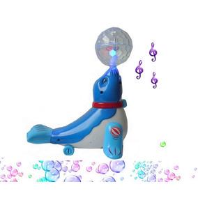 Foca Musical Brinquedo Com Bola Que Acende Luz Em Led