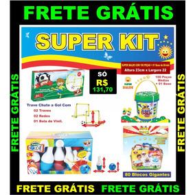 Kit Golzinho + Super Balde + Kit Boliche + 80 Blocos Grandes