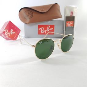 Armação Redondo Dourada Lentes De Sol Ray Ban Aviator - Óculos De ... d3796a5394