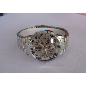 Espectacular Reloj Skeleton Automatico Dorado O Plateado