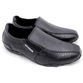 Zapato Nautico Stone De Cuero Cocido Color Negro 1415