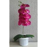 Arranjo Orquídeas Artificiais Rosa- 8 Flores De Seda