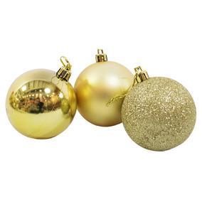 Jg Com 12 Bolas Natalinas Douradas 6cm - Enfeite Natalino