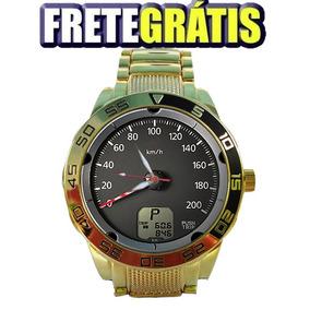 Relógio Dourado Painel Triton 5758g Impacto Relógios