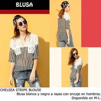 *fashionstore* Chelsea Stripe Blouse. Blusón A Rayas Encaje.