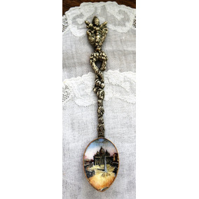 Antigua Cucharita Cobre Esmaltado Italia - De Colección -