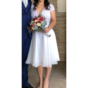 Vestido De Noiva Cartório Feito A Mão Casamento Civil Renda