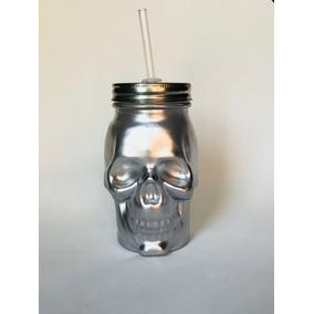 Manson Jar Cráneo Plateado