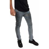 Calça Masculina Lycra Super Skinny Cinza Rock Couro De Ave
