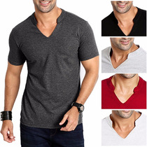 Camiseta Camisa Masculina Gola V Roma Moda Lisa Algodao Slim