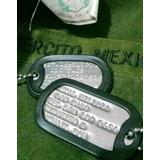 Placa Militar De Identificación Dog Tag Us Army Sedena Tact