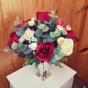 Arranjo Flores Artificiais - Vaso Espelhado Tam Apx: 36x26cm