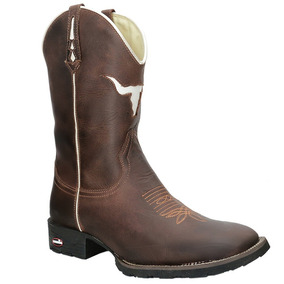Bota Texana Masculina Couro Barata Rodeio Botina Roça Bota