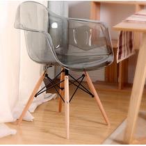 Cadeira Eames Eiffel Com Braços - Policarbonato Fume