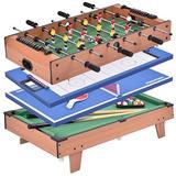 4 En 1 Multi Juego Air Hockey Tenis Fútbol Billar Billar...