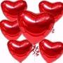 20 Balão Coração Vermelho 45cm Metalizado Bola Hélio Gás Sp