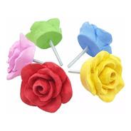 Puxador De Gaveta Flor Rosa Botão Colorido Kit C/ 12 Unid