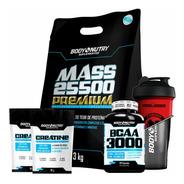 Mass 25500 3kg + Bcaa 100caps + 2 Creatina + Shaker Grátis