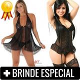Camisola Sensual + Espartilho Preto Completo C/ Meias Sexy