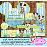 Kit Imprimible Mickey Bebe Invitaciones Etiquetas Cod073