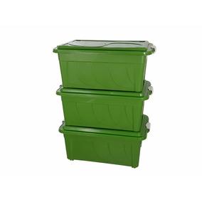 Caixa Plástica Organizadora 70 Litros Verde Kit 03 Peças