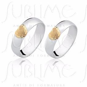 Par Alianças 5 Milímetros Em Prata + Coração Ouro Puro 18k