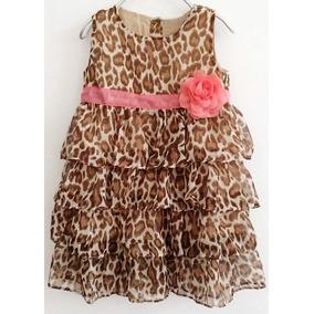 Hermoso Vestido Casual Para Niña Animal Print 12 A 18 Meses