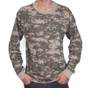 Camiseta Manga Longa Army Combat Camuflada Digital Xgg
