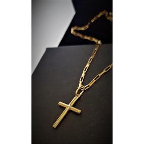 Correntinha Masculina De Ouro 18k Com Pingente Crucifixo