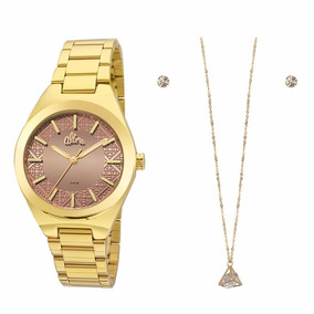 Kit Relógio Allora Dourado + Conjunto Folheado A Ouro 2