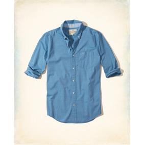 Hollister Caballero Camisa De Poplin Color Azul F Originales