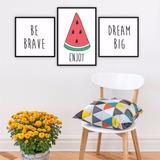 Plaquinha Placa Quadro Mdf Kit Melancia Fruta Dream Big