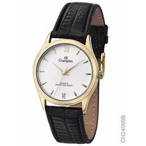 Relógio Champion Ch24099b Dourado Branco Puls Couro Preta