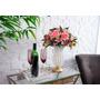 Bandeja De Servir Quadrada Mais Vaso Com Arranjo Floral