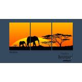 Cuadro Triptico Long Elefantes Africanos 90x40cm