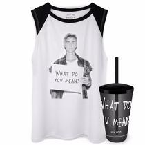 Kit Camiseta Regata Feminina Justin Bieber + Copo Grátis