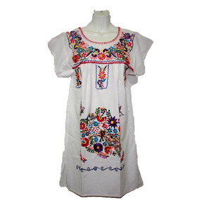 Mini Vestido Artesanal Mexicana Estilo Clasica