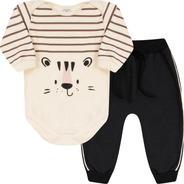Roupa Bebê Conjunto Body Manga Longa Calça Saruel Com Friso