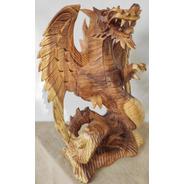 Dragão Alado Em Madeira Suar Escultura