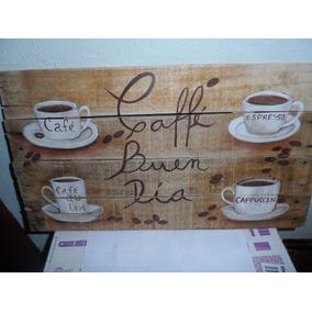 Cartel Vintage Madera Pintado A Mano Con Tema De Cafe