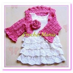Vestido Y Torera Tejido A Crochet Para Bebe