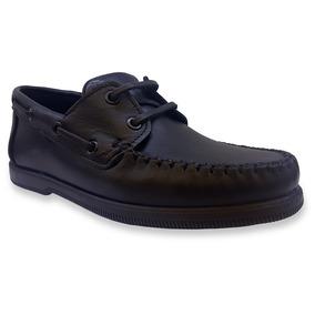 Zapato Negro Perona Nautico Colegial Cuero