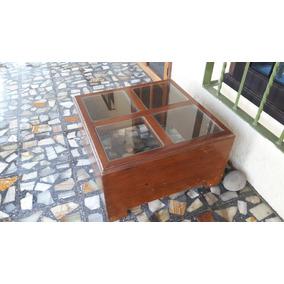 Mesa De Centro De Madera Cedro Con Cristal