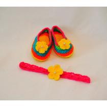 Set De Ballerinas Y Vincha Al Crochet