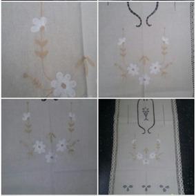 Visillo Rustico Algodon Crudo Bordado Y Calado 60x180 Cm