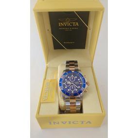 Relógio Invicta Prata Com Detalhes A Ouro 18 Kl Masculino