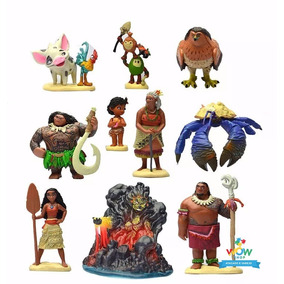 Kit 10 Miniaturas Bonecos Disney Moana Deusa Maui Hei Pixar